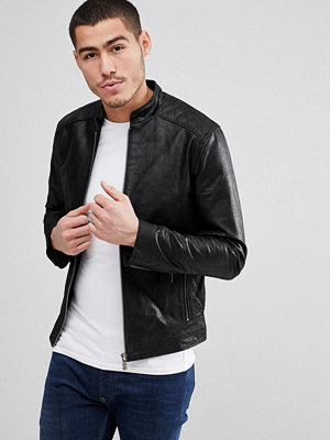 Skinnjackor - Solid Leather Jacket With Quilting - 9000