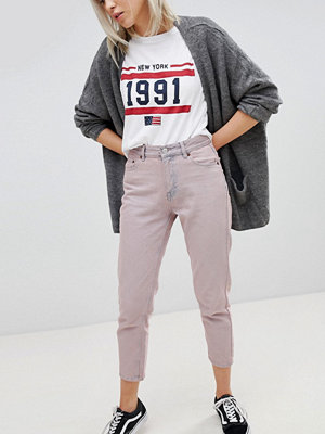 Pull&Bear Cropped Mom Jeans - Mauve
