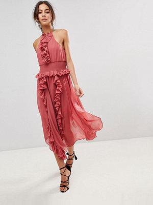 Keepsake Ruffle Swing Dress - Mineral red
