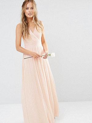TFNC Pleated Wrap Maxi Bridesmaid Dress - Nude