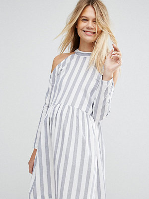 ASOS Maternity Cold Shoulder Cotton Stripe Smock mini dress - Grey/ white stripe