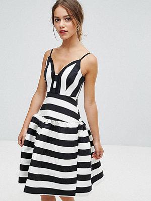 ASOS Petite Curved Stripe Trumpet Hem Midi Prom Dress