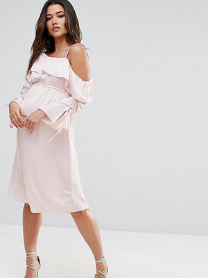 ASOS Maternity One Shoulder and Ruched Sleeve Detail Midi Dress - Blush
