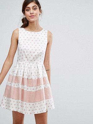 Closet London Mini Skater Dress in Polka Print with Contrast Stripe