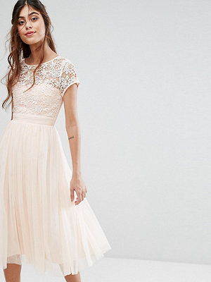 Little Mistress Short Sleeve Lace Bodice Midi Dress With Tulle Skirt - Nude