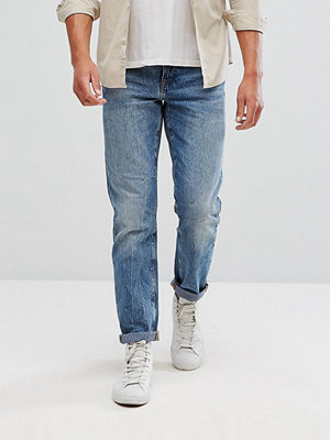 ASOS Recycled Denim Slim Jeans In Mid Wash Blue