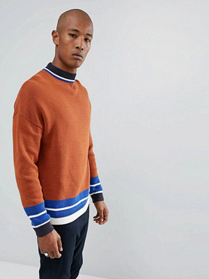 ASOS Longline Colour Blocked Jumper With Sport Detail - Tan