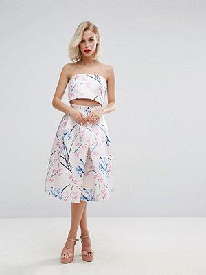 Horrockses Satin Midi Skirt in Multi Floral Co Ord