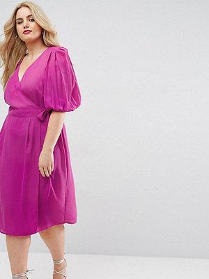 ASOS Curve Wrap Tea Dress with Extreme Shoulder