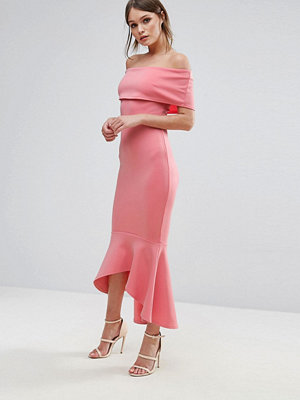 Club L Bardot Drop Peplum Dress - Peach bloss