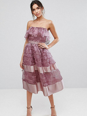 True Violet Bardot Midi Dress in Textured Fringe Fabric with Border Hem