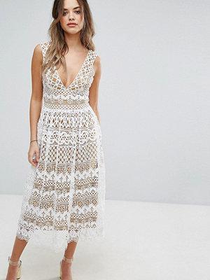 Boohoo V Neck Midi Lace Dress - Ivory