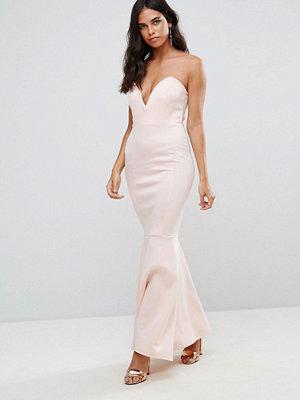 Club L Scuba Deep Plunge Bandeau Maxi Dress - As is