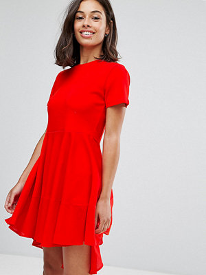 ASOS Petite Skater T-Shirt Dress with Woven Cotton Hem - Red
