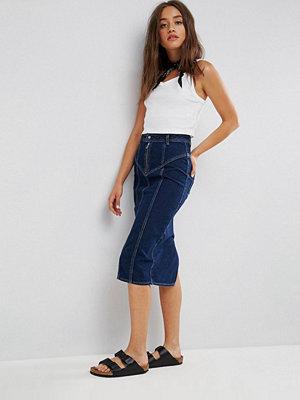 ASOS Denim Midi Skirt With Zip Detail in Indigo - Indigo