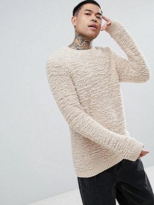ASOS Fluffy Textured Jumper In Oatmeal - Tan