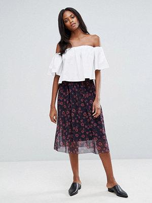Pieces Hesha Floral Mesh Midi Skirt