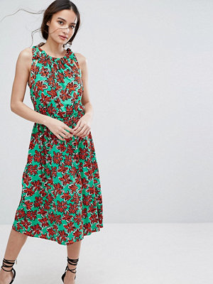 Warehouse Oversized Floral Print Midi Dress