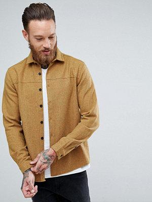 ASOS Wool Mix Overshirt In Mustard