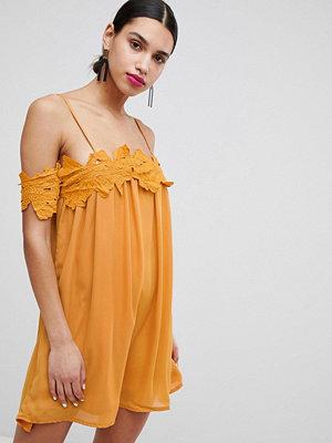 Boohoo Lace Applique Cold Shoulder Smock Dress - Mustard