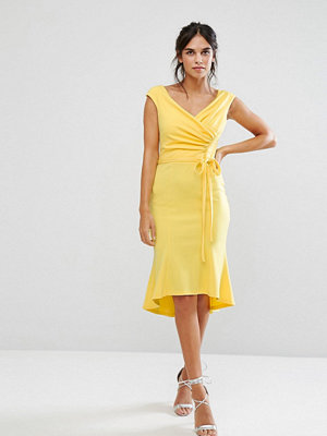 City Goddess Wrap Front Peplum Midi Dress - Lemon