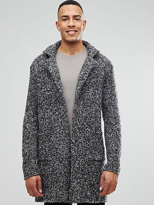 ASOS TALL Longline Heavyweight Knitted Duster Cardigan in Charcoal - Charcoal