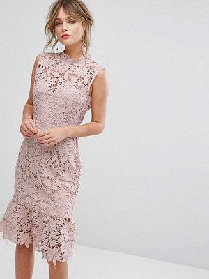 Paper Dolls High Neck Lace Dress with Pephem - Light blush