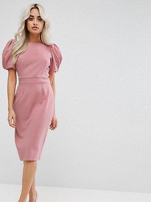 ASOS Petite Puff Sleeve Midi Pencil Dress