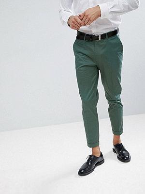 ASOS WEDDING Skinny Crop Smart Trousers In Sage Green Cotton Sateen