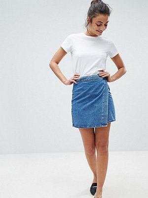 Asos Tall ASOS DESIGN Tall denim wrap skirt in stonewash blue