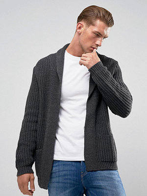 ASOS DESIGN knitted cardigan in charcoal - Charcoal