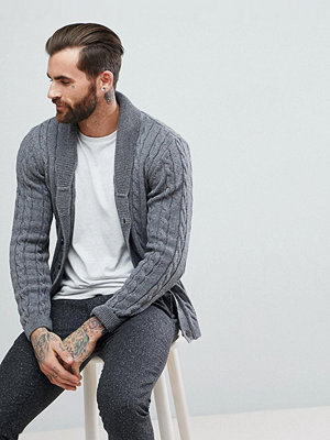 ASOS Cable Knit Cardigan With Shawl Collar In Grey - Charcoal