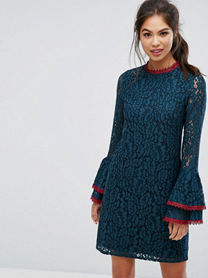 Little Mistress Lace Shift Dress With Fluted Sleeve