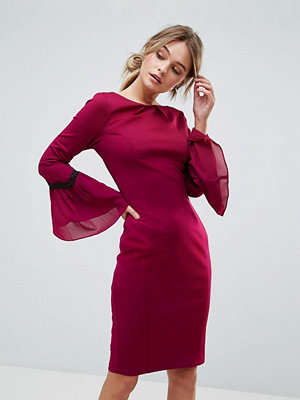Paper Dolls Long Sleeve Midi Dress - Wine