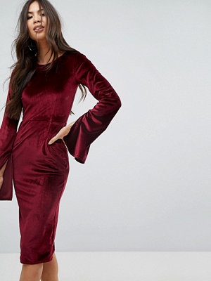 Outrageous Fortune Velvet Midi Pencil Dress With Split Sleeve Detail