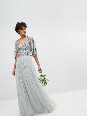Maya Sequin Cape Tulle Skirt Maxi Bridesmaid Dress - Green lily
