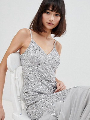 Maya All Over Sequin Cami Strap Fishtail Maxi Bridesmaid Dress - Micro chip