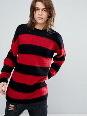ASOS All Over Stripe Fluffy Jumper In Black Red