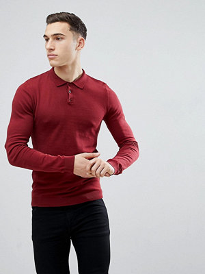 ASOS Knitted Muscle Fit Polo In Burgundy - Burgundy