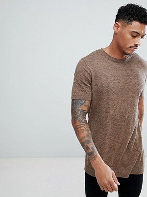 ASOS Knitted T-Shirt In Tan Twist