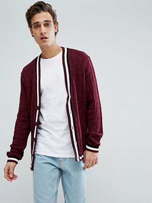 ASOS Ribbed Cardigan With Tipping In Burgundy - Burgundy