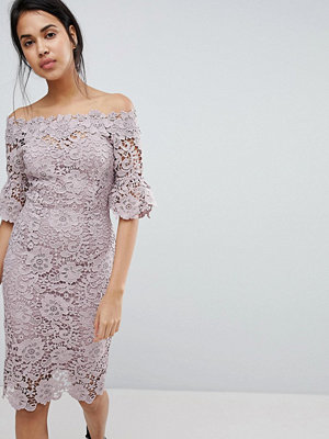 Paper Dolls off shoulder crochet midi dress with frill sleeve - Mink dusk