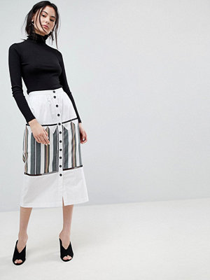 ASOS DESIGN midaxi skirt with button front and stripe detail