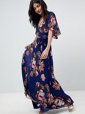 Asos Tall Pleated Maxi Dress with Flutter Sleeve in Floral Print
