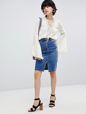 Warehouse Split Front Denim Skirt - Mid wash