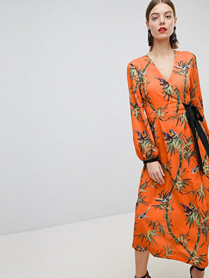 Warehouse Barbican Collection Songbird Print Wrap Dress