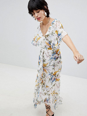 Warehouse Wrap Front Floral Midi Dress