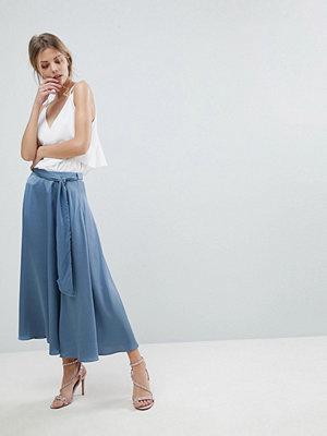 ASOS Satin Midi Skirt with Self Belt