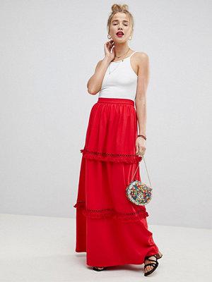 ASOS Design maxi skirt with tassle trim