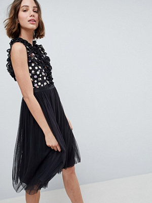 Needle & Thread High Neck Midi Dress With Cut Out Detail - Graphite